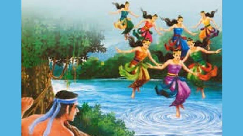 Cerita Rakyat Jaka Tarub - Lukisan Tujuh Bidadari