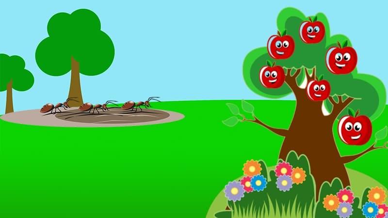 Ilustrasi Pohon Apel dan Semut