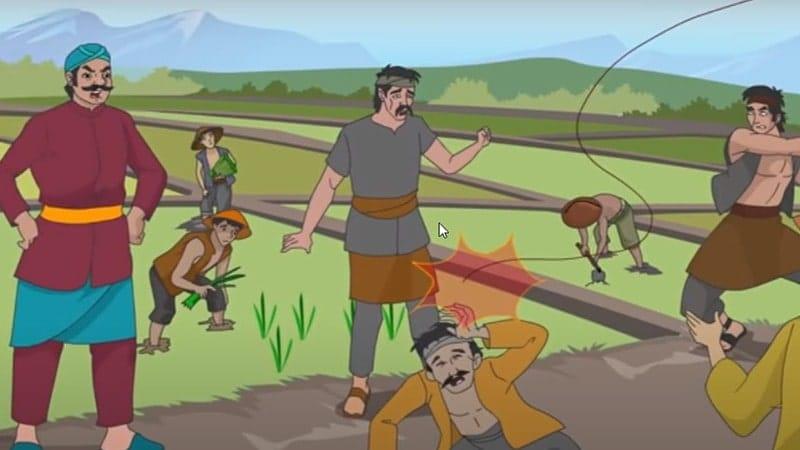 Cerita Legenda Batu Kuwung - Ilustrasi Pak Lurah Memaki Warga