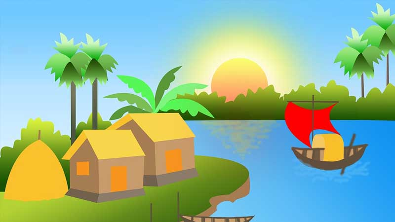Cerita Rakyat Jambi Angso Duo - Ilustrasi Sungai dan Pedesaan