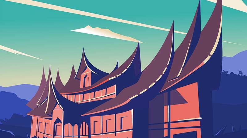 Cerita Minang Cindua Mato - Ilustrasi Rumah Adat